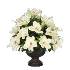 Artificial Magnolia with Asparagus Fern in Garden Urn - House of Silk Flowers®  - 2