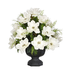 Artificial Magnolia with Asparagus Fern in Garden Urn - House of Silk Flowers®  - 4