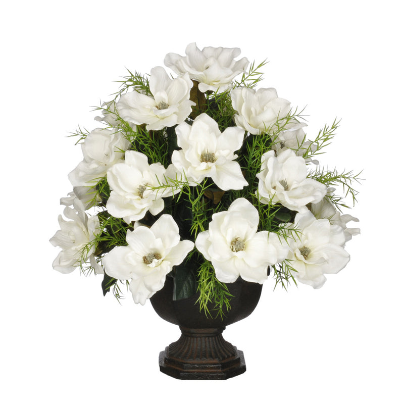 Artificial Magnolia with Asparagus Fern in Garden Urn - House of Silk Flowers®  - 5