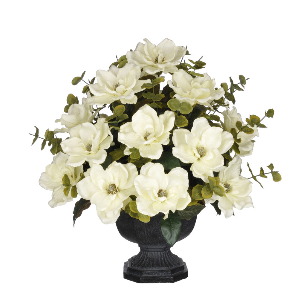 Artificial Magnolia with Eucalyptus in Garden Urn - House of Silk Flowers®  - 1