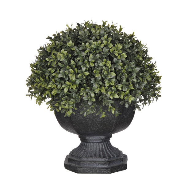 Artificial Half-Ball Boxwood Topiary in Garden Urn