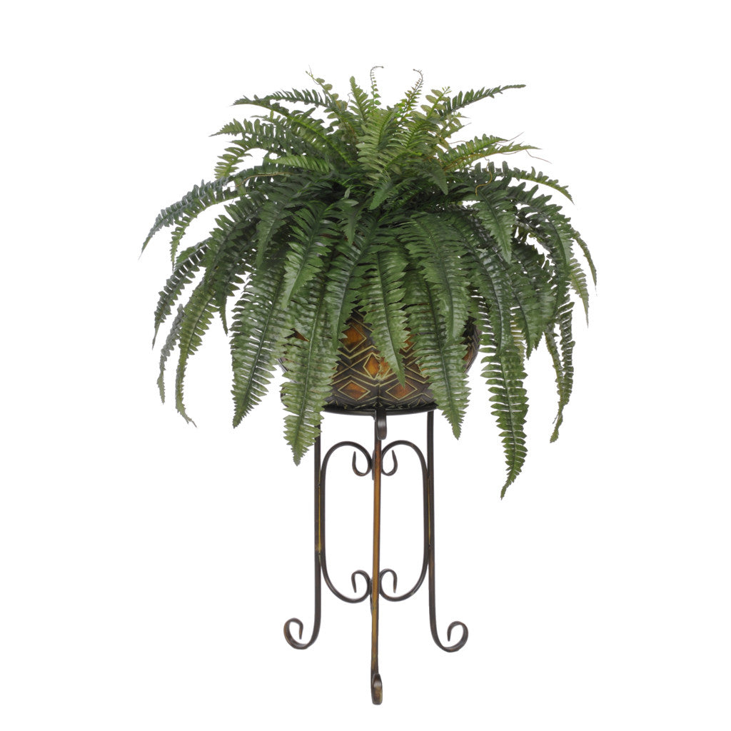 Artificial Fern in Large Tribal Planter Stand - House of Silk Flowers®