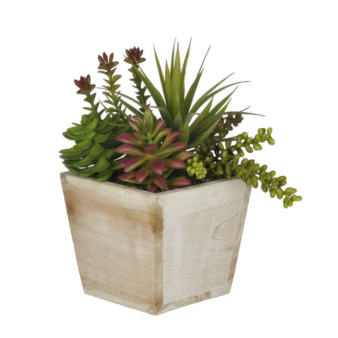 Artificial Succulent Garden in Small Wash Wood - House of Silk Flowers®  - 3