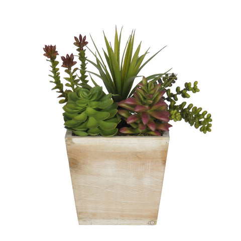 Artificial Succulent Garden in Small Wash Wood - House of Silk Flowers®  - 4