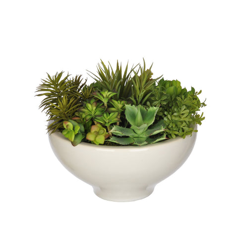 Artificial Succulent Garden in Ceramic Bowl - House of Silk Flowers®  - 1