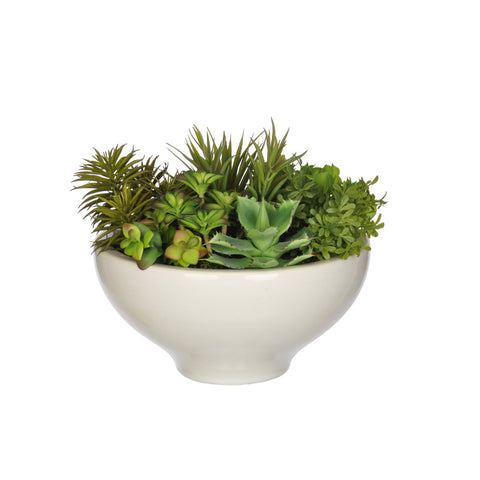 Artificial Succulent Garden in Ceramic Bowl - House of Silk Flowers®  - 3