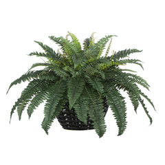 Artificial Fern In Black Quilted Ceramic Vase House Of