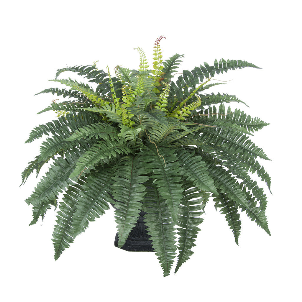 Artificial Fern in Garden Urn