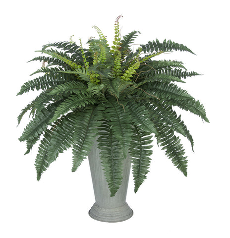 Artificial Fern in Galvanized Southern Farm Bucket