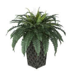 Artificial Fern in Patterned Metal Planter