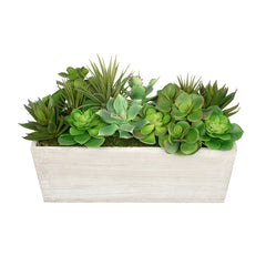 Artificial Succulent Garden In Rectangle Planter House