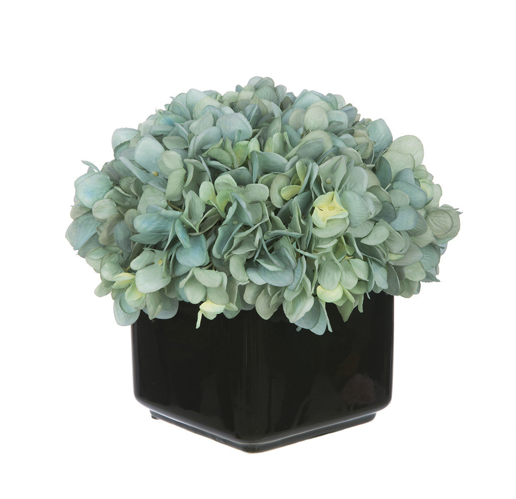 Artificial Hydrangea in Small Black Cube Ceramic - House of Silk Flowers®  - 7