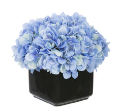 Artificial Hydrangea in Small Black Cube Ceramic - House of Silk Flowers®  - 1