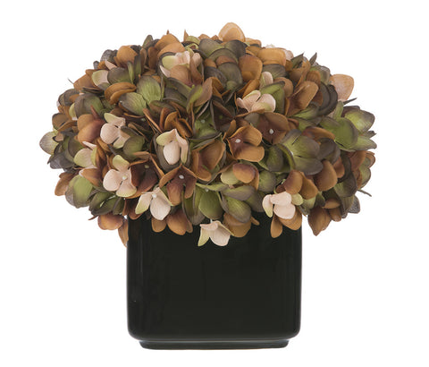 Artificial Hydrangea in Small Black Cube Ceramic