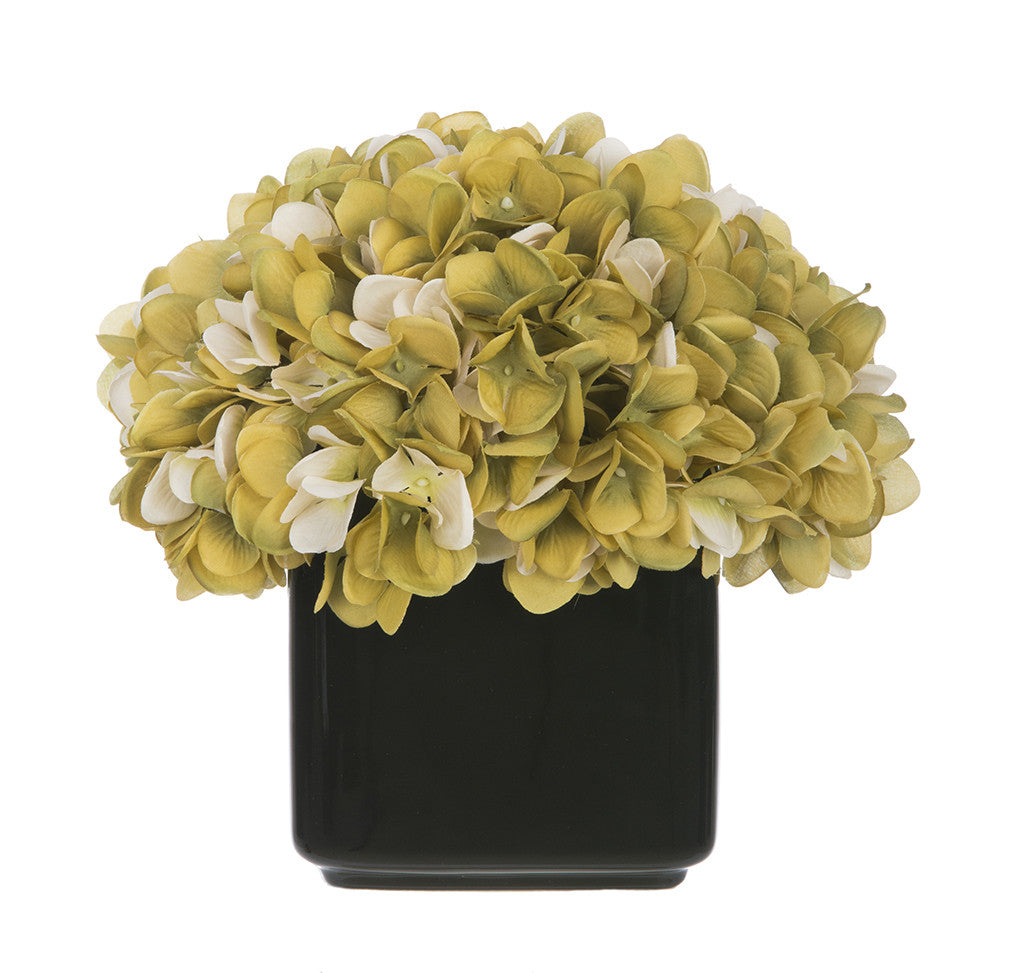 Artificial Hydrangea in Small Black Cube Ceramic - House of Silk Flowers®  - 14