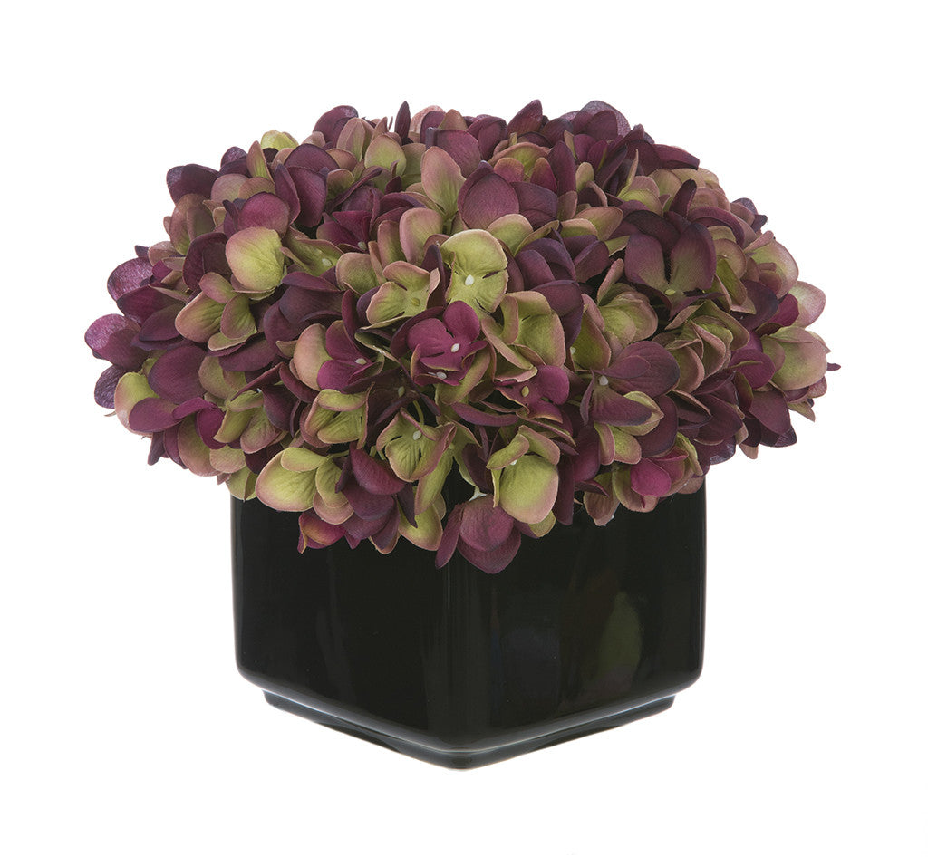 Artificial Hydrangea in Small Black Cube Ceramic - House of Silk Flowers®  - 15