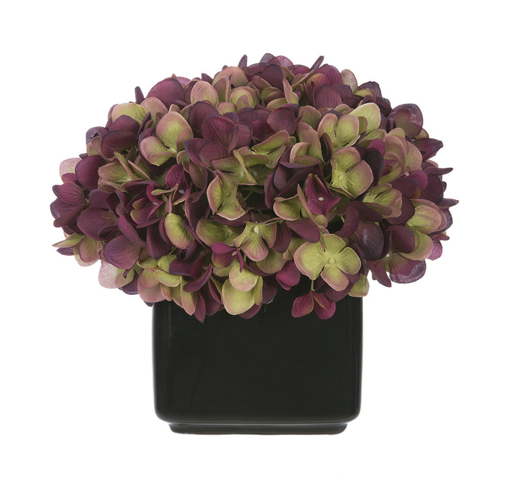 Artificial Hydrangea in Small Black Cube Ceramic - House of Silk Flowers®  - 16