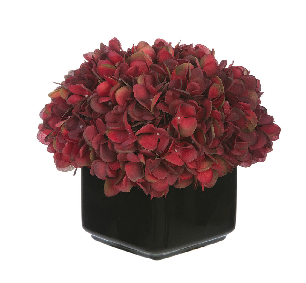 Artificial Hydrangea in Small Black Cube Ceramic - House of Silk Flowers®  - 3