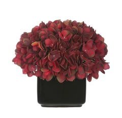 Artificial Hydrangea in Small Black Cube Ceramic - House of Silk Flowers®  - 4