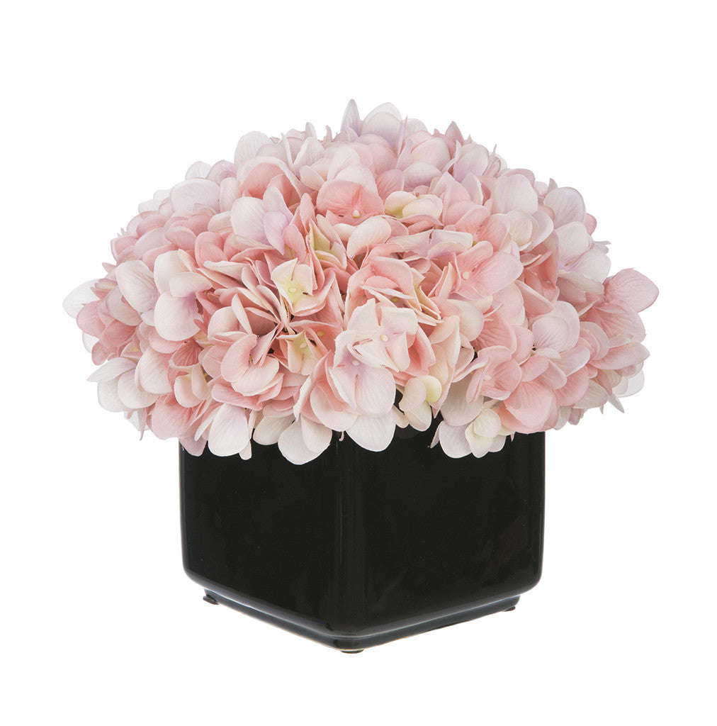 Artificial Hydrangea in Small Black Cube Ceramic - House of Silk Flowers®  - 17