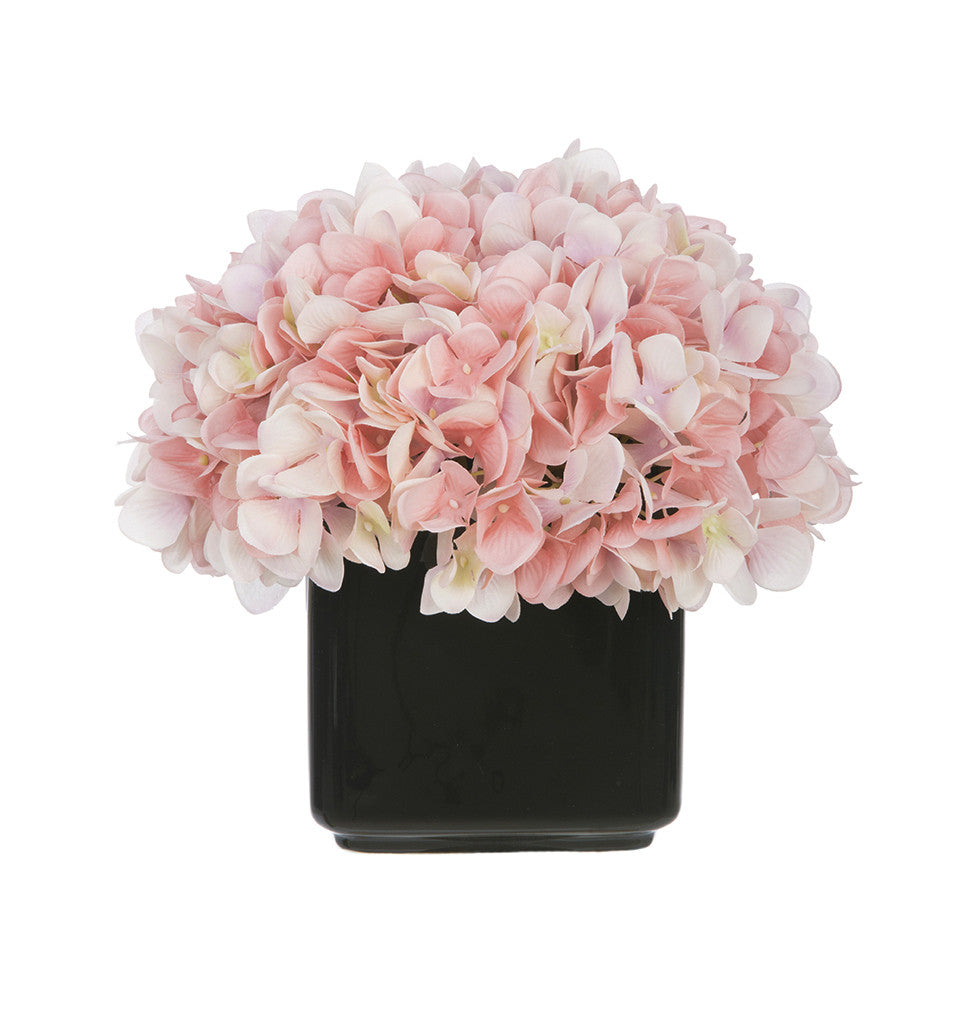 Artificial Hydrangea in Small Black Cube Ceramic - House of Silk Flowers®  - 18
