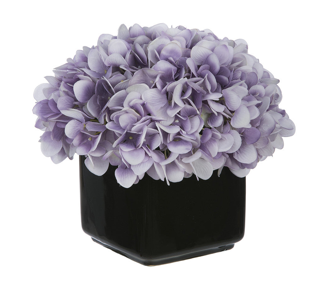 Artificial Hydrangea in Small Black Cube Ceramic - House of Silk Flowers®  - 20
