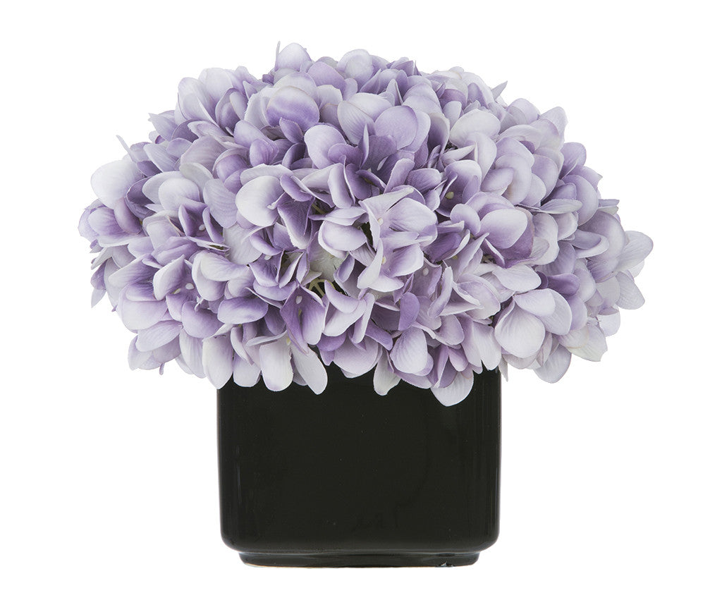 Artificial Hydrangea in Small Black Cube Ceramic - House of Silk Flowers®  - 22