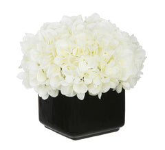 Artificial Hydrangea in Small Black Cube Ceramic - House of Silk Flowers®  - 5