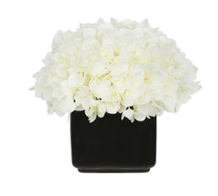 Artificial Hydrangea in Small Black Cube Ceramic - House of Silk Flowers®  - 6