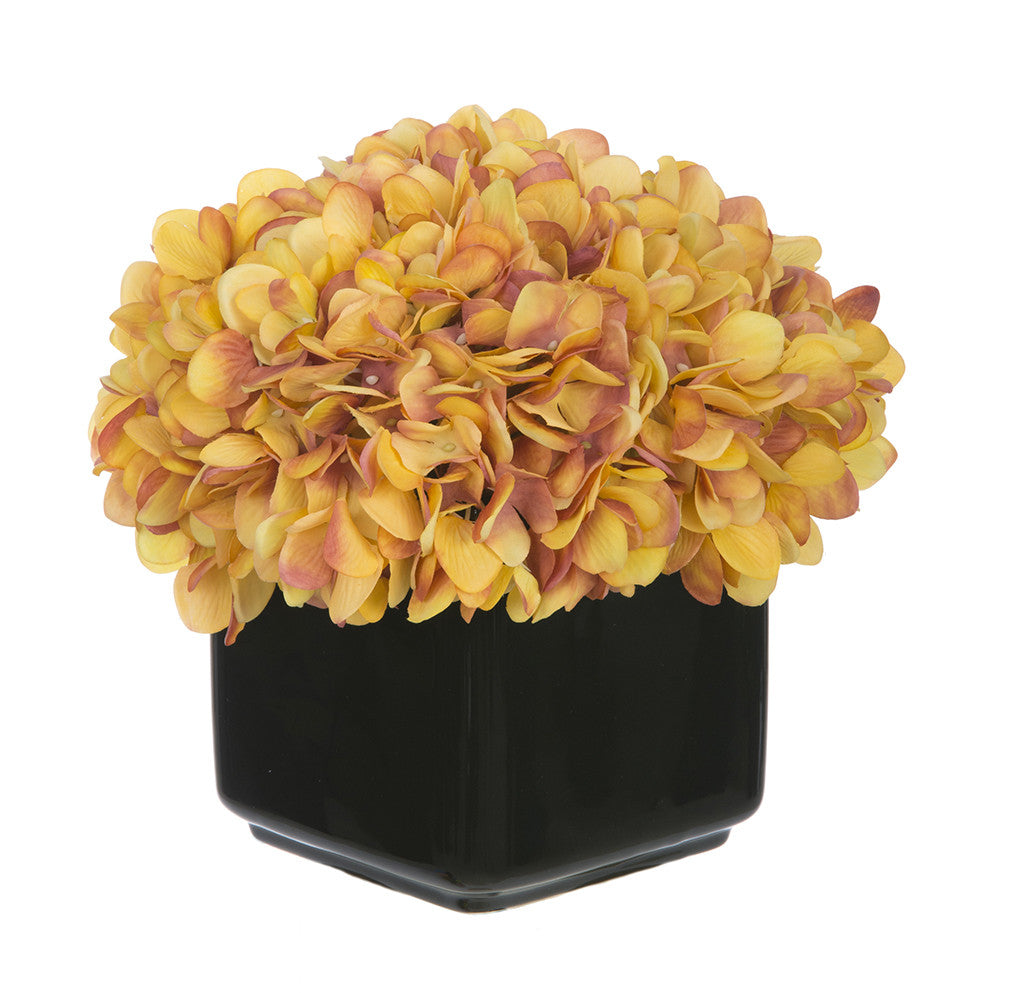 Artificial Hydrangea in Small Black Cube Ceramic - House of Silk Flowers®  - 23