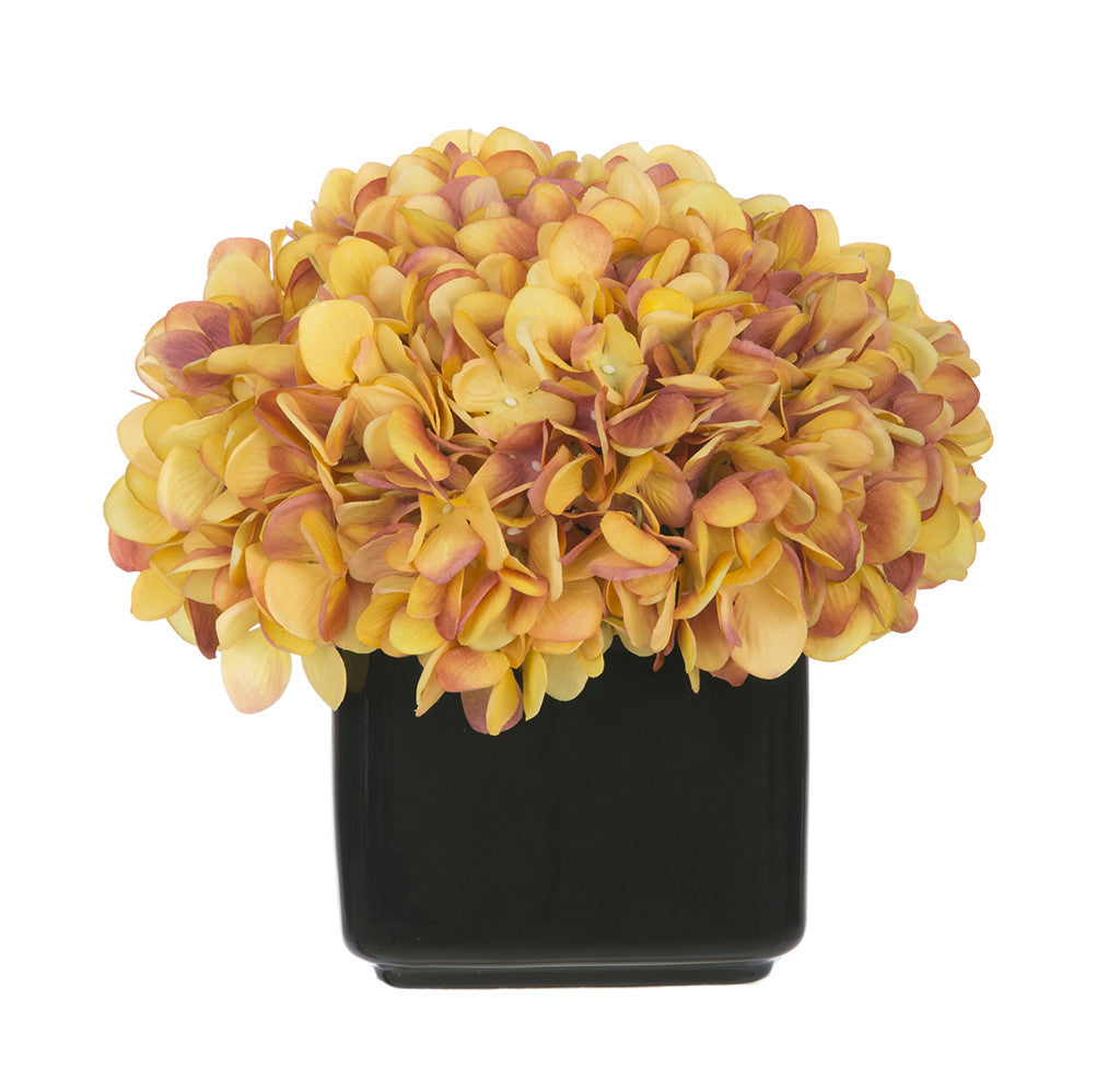 Artificial Hydrangea in Small Black Cube Ceramic - House of Silk Flowers®  - 24