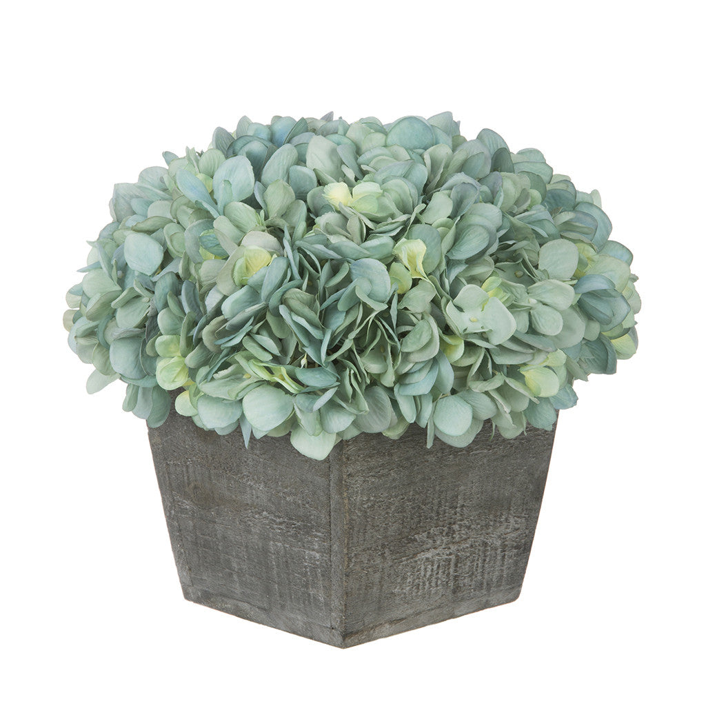 Artificial Hydrangea in Grey-Washed Wood Cube - House of Silk Flowers®  - 5