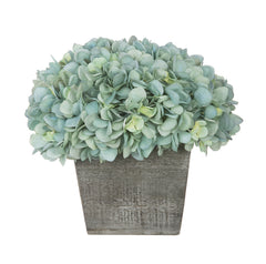 Artificial Hydrangea in Grey-Washed Wood Cube - House of Silk Flowers®  - 6