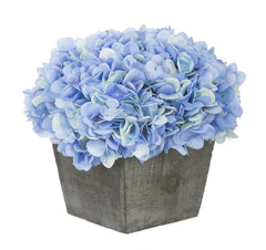 Artificial Hydrangea in Grey-Washed Wood Cube - House of Silk Flowers®  - 7