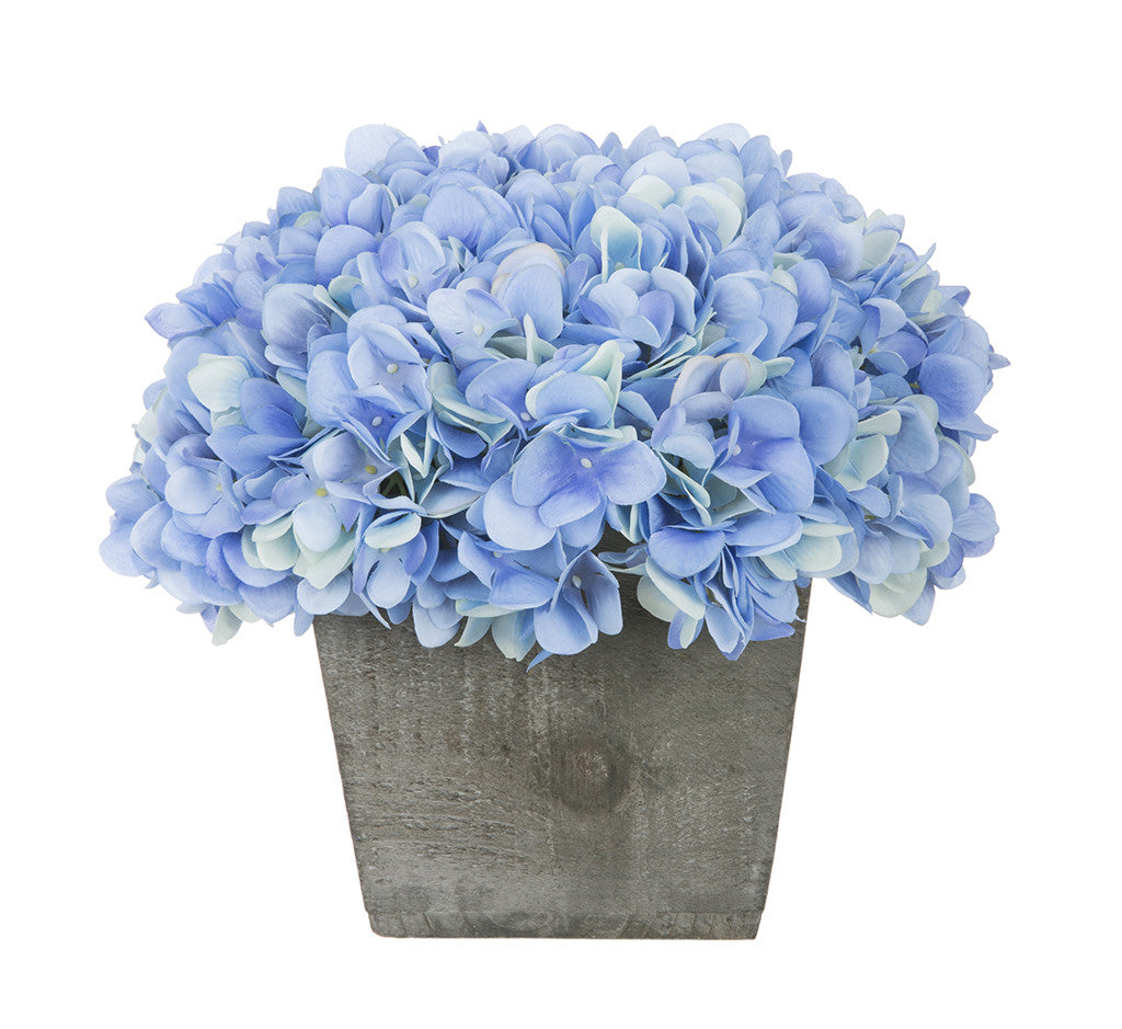 Artificial Hydrangea in Grey-Washed Wood Cube - House of Silk Flowers®  - 8