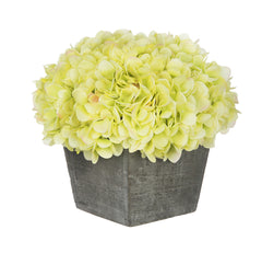 Artificial Hydrangea in Grey-Washed Wood Cube - House of Silk Flowers®  - 9