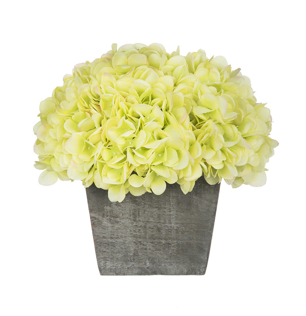 Artificial Hydrangea in Grey-Washed Wood Cube - House of Silk Flowers®  - 10
