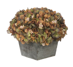 Artificial Hydrangea in Grey-Washed Wood Cube - House of Silk Flowers®  - 11