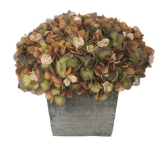 Artificial Hydrangea in Grey-Washed Wood Cube - House of Silk Flowers®  - 12