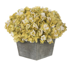 Artificial Hydrangea in Grey-Washed Wood Cube - House of Silk Flowers®  - 13