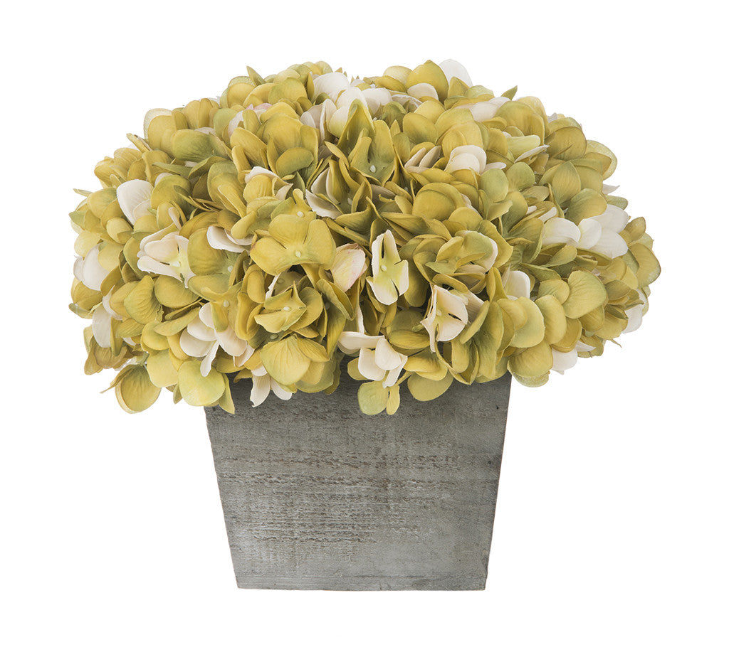Artificial Hydrangea in Grey-Washed Wood Cube - House of Silk Flowers®  - 14