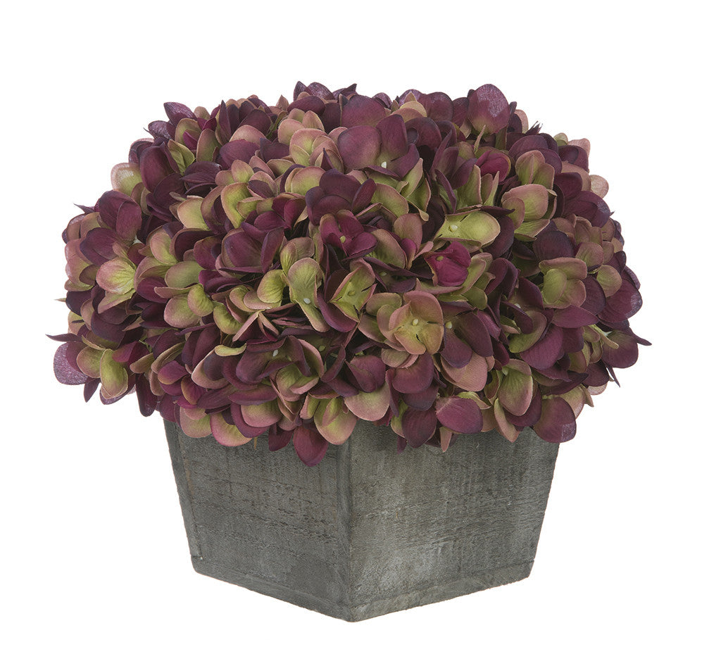 Artificial Hydrangea in Grey-Washed Wood Cube - House of Silk Flowers®  - 15