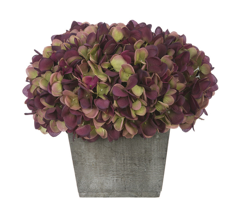 Artificial Hydrangea in Grey-Washed Wood Cube - House of Silk Flowers®  - 16