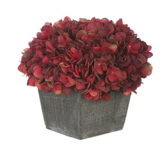Artificial Hydrangea in Grey-Washed Wood Cube - House of Silk Flowers®  - 17