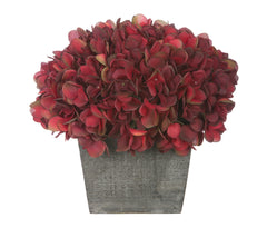Artificial Hydrangea in Grey-Washed Wood Cube - House of Silk Flowers®  - 18