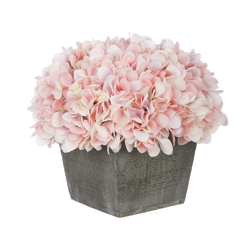Artificial Hydrangea in Grey-Washed Wood Cube - House of Silk Flowers®  - 1