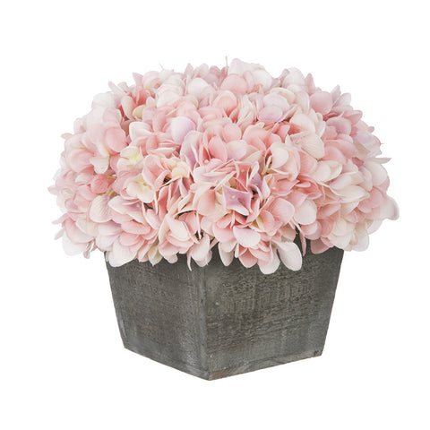 Artificial Hydrangea in Grey-Washed Wood Cube