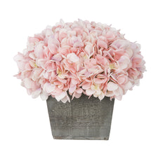 Artificial Hydrangea in Grey-Washed Wood Cube - House of Silk Flowers®  - 2
