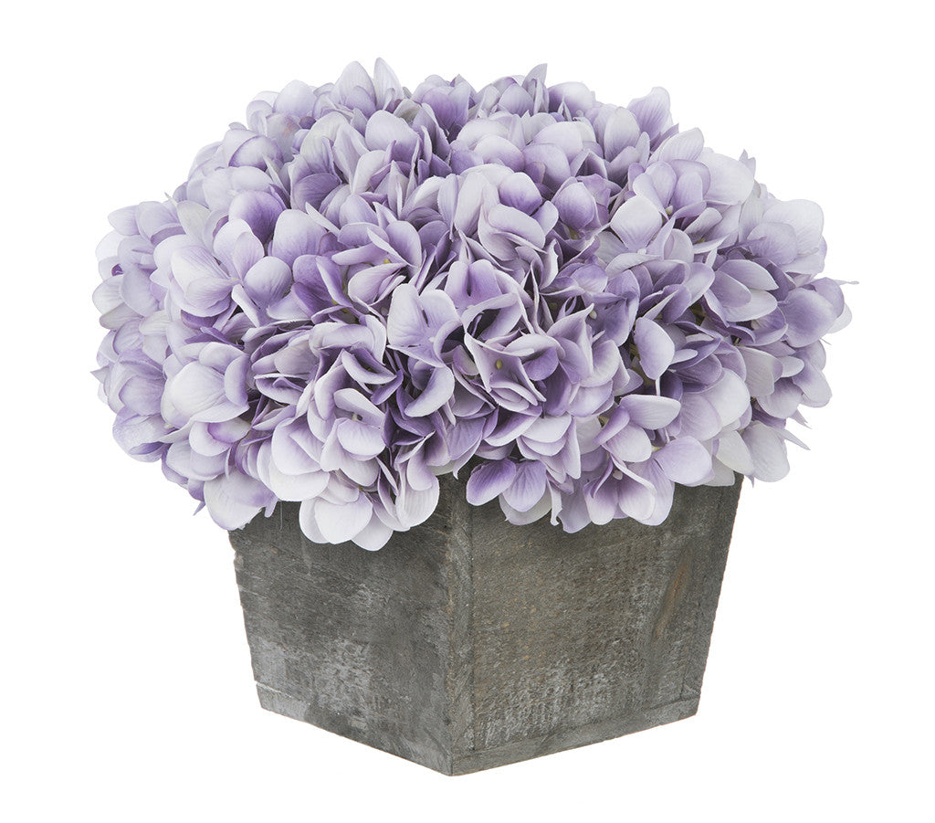 Artificial Hydrangea in Grey-Washed Wood Cube - House of Silk Flowers®  - 20