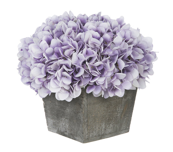 Artificial Hydrangea In Grey Washed Wood Cube House Of